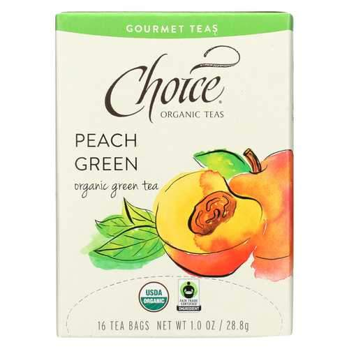Choice Organic Gourmet Green Tea - Peach Green - Case of 6 - 16 Count