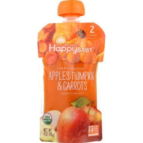 Happy Baby Happy Baby Clearly Crafted - Apples, Pumpkin and Carrots - Case of 16 - 4 oz.