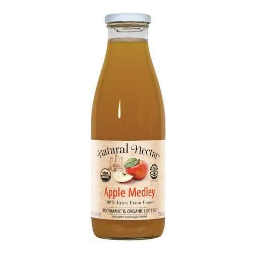 Natural Nectar Organic and Biodynamic Sparkling Juices - Apple Medley - Case of 6 - 25.4 Fl oz.