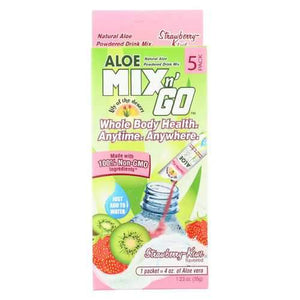 Lily of The Desert Mix N'Go Aloe Drink - Strawberry and Kiwi - Case of 10