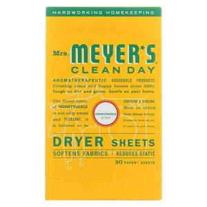 Mrs. Meyers Clean Day - Dryer Sheets - Honeysuckle - Case of 12 - 80 sheets