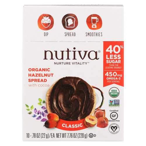 Nutiva Organic Spreads - Hazelnut - Case of 10 - 0.78 oz.