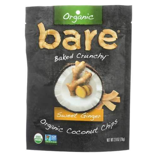 Bare Fruit Organic Coconut Chips - Sweet Ginger - Case of 12 - 2.8 oz