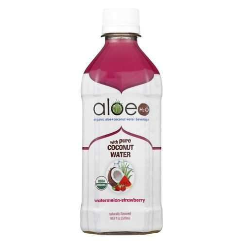 Lily of The Desert Organic Aloe Water with Coconut Water - Watermelon Strawberry - Case of 12 - 16.9 fl oz