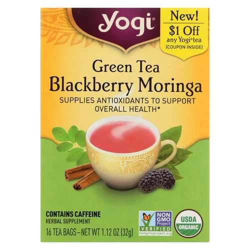 Yogi Tea - Organic - Green - Blackberry Moringa - Case of 6 - 16 BAG