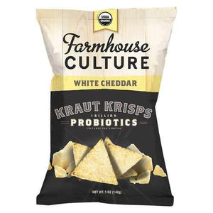 Farmhouse Culture Organic Probiotic Kraut Krisps - White Cheddar - Case of 12 - 5 oz