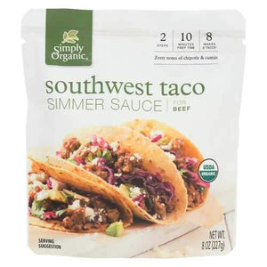 Simply Organic Simmer Sauce - Organic - Southwest Taco - Case of 6 - 8 oz