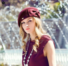 French Beret with Flat Cap and Bow Decoration