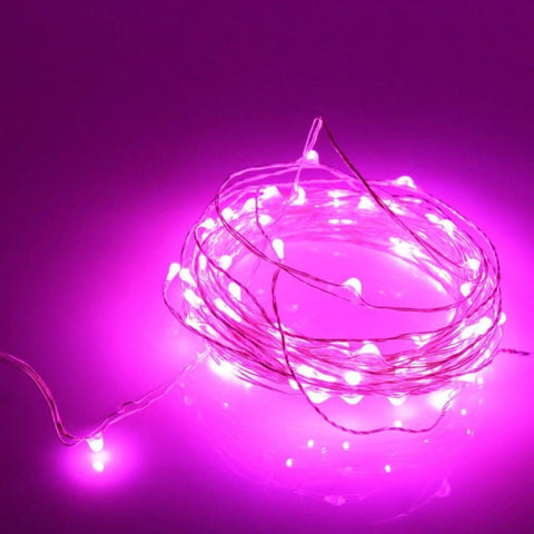 20 Led Copper Fairy Lights - Pink