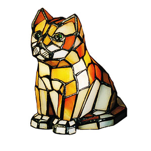 Tiffany Cat Orange Glass Accent Lamp   FREE Shipping
