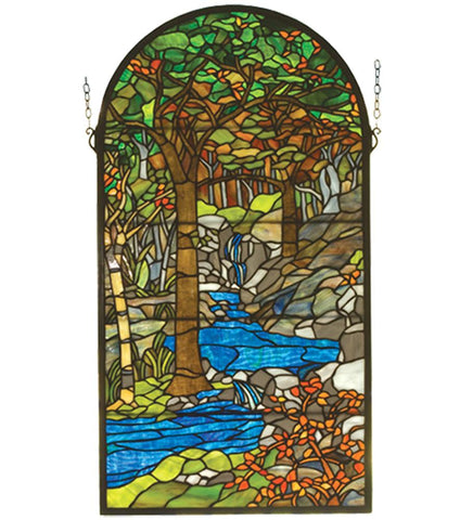 Tiffany by Meyda Stream Forest Stained Glass Window + Shipping