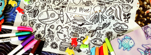 DrawnBy: Jessica Big Blue Reusable Silicone Colouring Mat