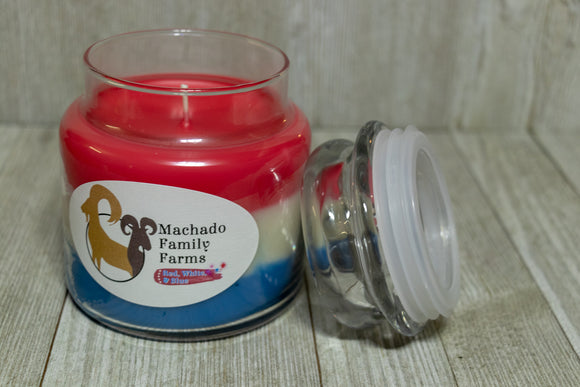 Red White and Blue Medium Candle with Lid - Machado Family Farm