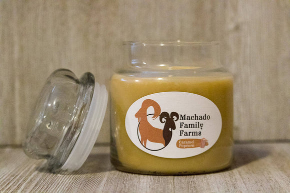 Caramel Popcorn Medium Candle with Lid - Machado Family Farm