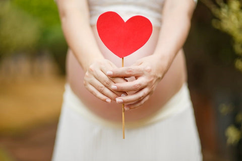 A pregnant woman holding a cut out heart | ML Delicate Beauty