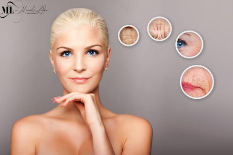 Blond woman thinking of aging signs | ML Delicate Beauty