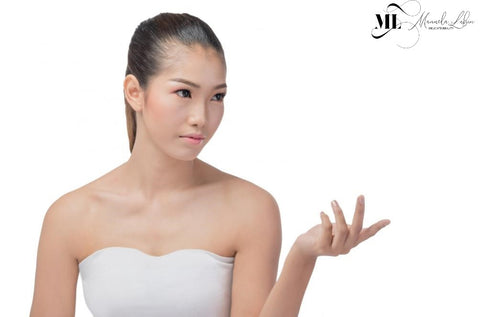 Portrait of an Asian girl against white background   ML Delicate Beauty