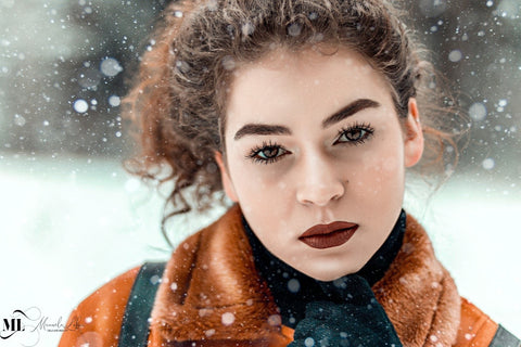 Girl's clear skin in winters using ML Delicate Beauty skincare products