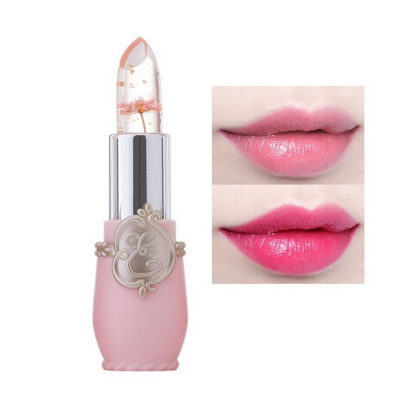 lip gloss features a small real flower inside