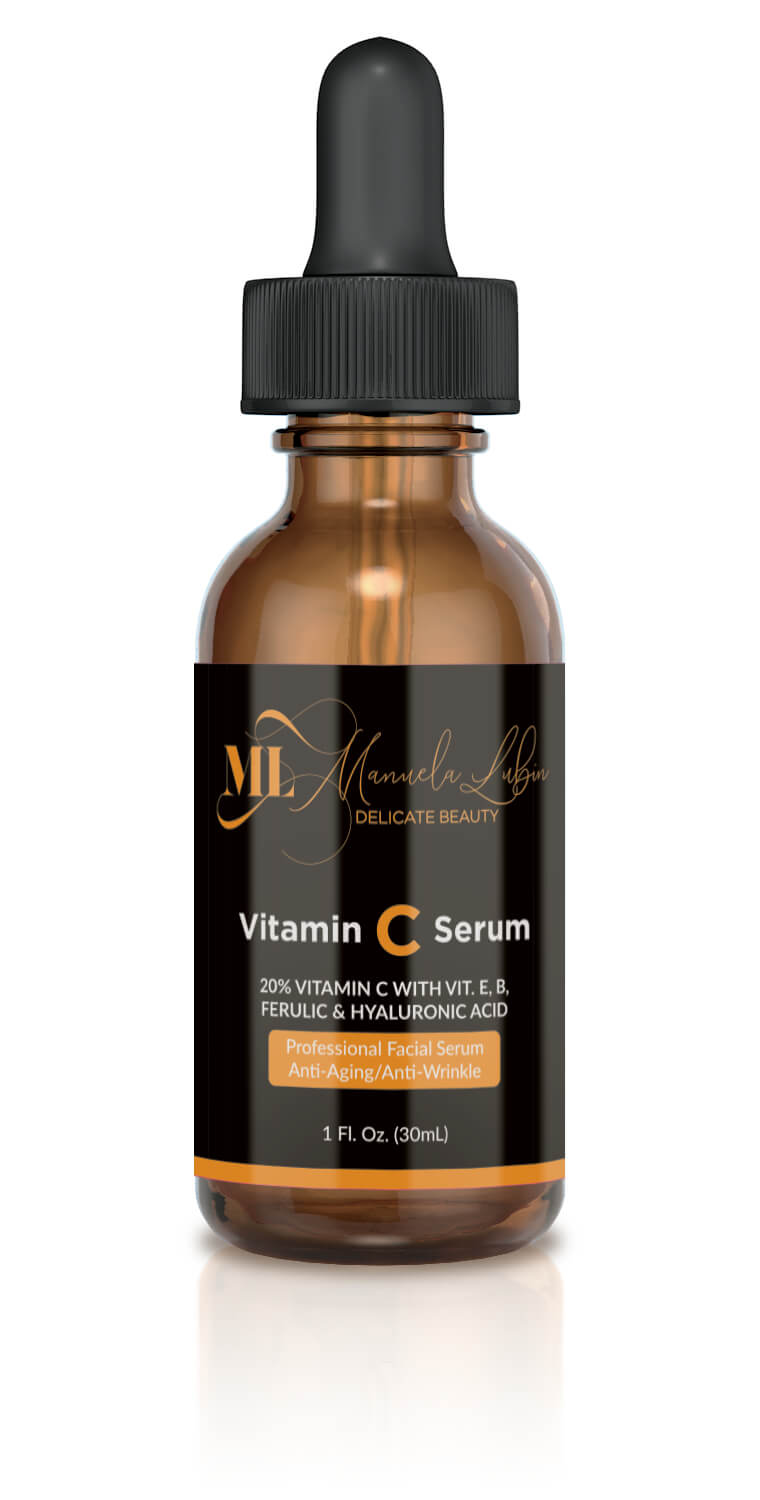 front-view bottle of anti aging vitamin C serum from ML Delicate Beauty