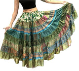 Banjara Gypsy Hippie Frill Skirts - GREEN SHADES - offer week