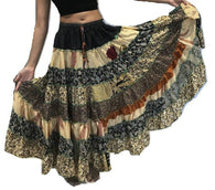 Hippie Silk Blended Frill Skirt - KHAKI SHADES - offer week