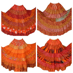 Banjara Gypsy Hippie Frill Skirts - ORANGE SHADES