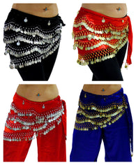 Velvet Coin Belly Dancing Hip Belts UK 8 to 24