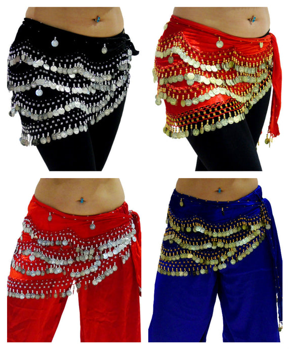 Velvet Wavy Coin Belly Dancing Belts UK Sizes 8 to 24