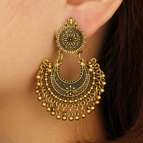Metal Tassel Jhumka Indian Ethnic Bollywood Dangle Earrings