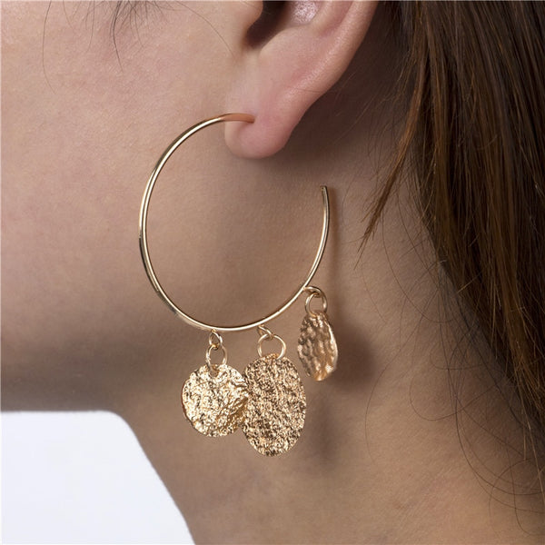 Punk Gold Silver Colour Round Wafer Drop Dangle Earrings for Women