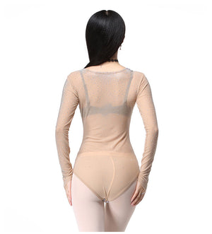 Plus Size Leotard Women Dance Accessories Long Sleeves Tops Belly Dance Bodysuit Stocking
