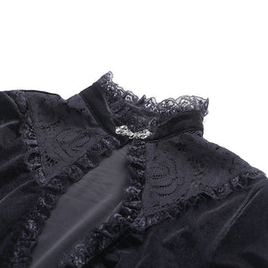 Vintage Black Women Dress Gothic Hollow Out Dress Lace Patchwork