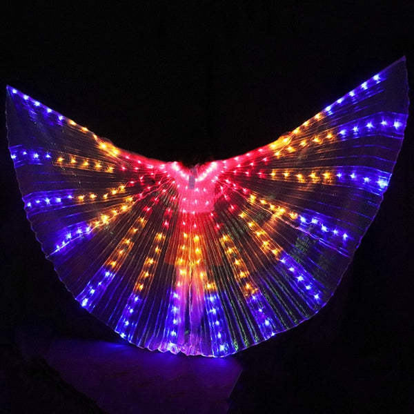 Women LED Light Isis Wings Belly Dance Costumes With Sticks