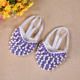 Pearl Canvas Half Shoes Ballet Belly Dance Costume Leather Sole Xs / S / M / L