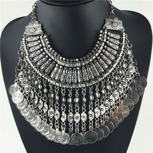 Vintage Silver Zinc Coin Tassels Choker statement necklaces Pendants Collar women Jewellery