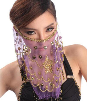 Belly Dance Face Veil Sequins Voile Wrap Handmade