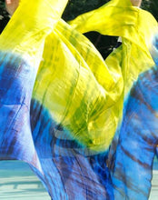 Rectangle 100% silk belly dance veil tie dye