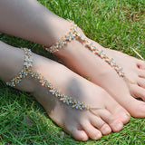 Crystal Flower Barefoot Anklet Bracelet for Women Rhinestone