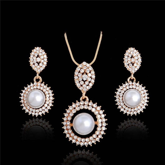 Simulated Pearl Jewellery Set Crystal Necklace Earrings