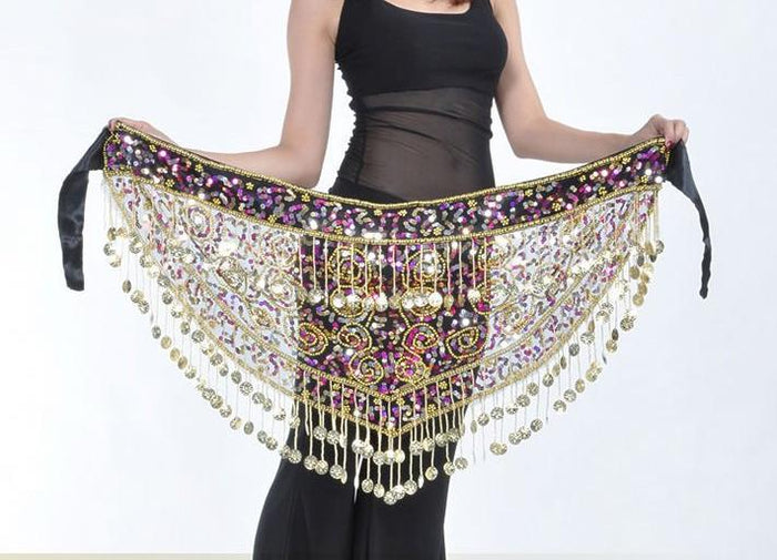 Belly Dance Egypt Hip Scarf with Coins Sequins
