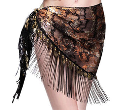 New design embroidery bellydance hip scarf tassels Hip Scarves