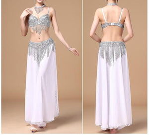 Belly Dance Costume Costumes Beaded 3 Pcs Bra Belt & Necklace