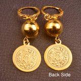 Metal Coin & Bead Earrings for Women Gold Earring