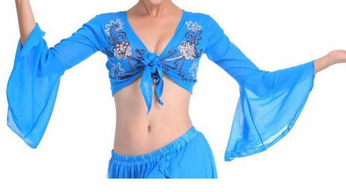 Tribal belly dance tops long sleeve dancing costume