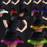Women's Latin dance skirt double tassel fringed short skirts