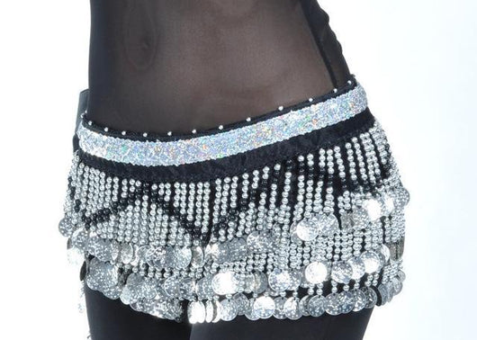 Belly Dance  Hip Scarf silver or gold coins