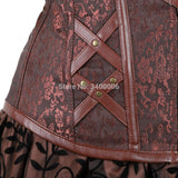 Steampunk bustier corset dress plus size black brown zipper faux leather Gothic