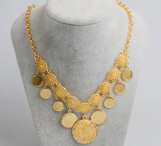 Charm Arab Coin Necklaces for Women's Gold Coins