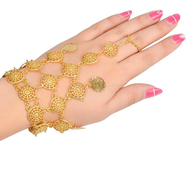 Coin Bracelet New for Women Gold Kurdish Charm Bangle Jewellery